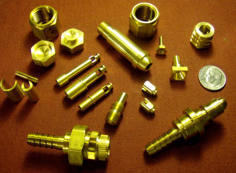 A selection of brass parts highlighting our secondary and C-axis capability.